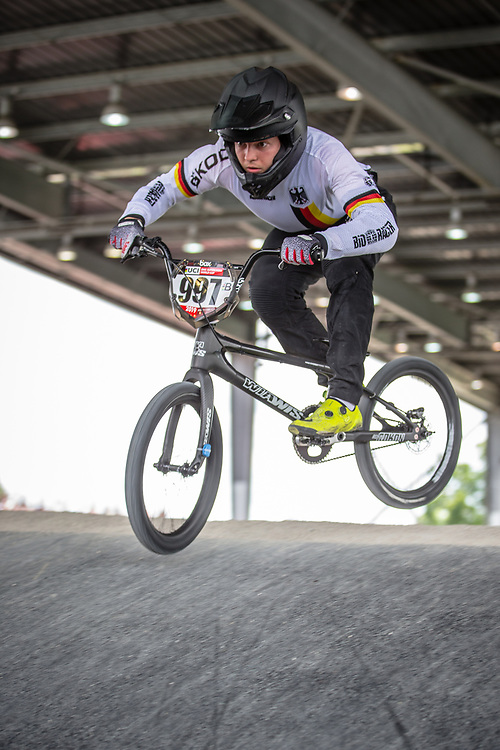 #997 (SCHAUB Philip) GER at Round 6 of the 2019 UCI BMX Supercross World Cup in Saint-Quentin-En-Yvelines, France