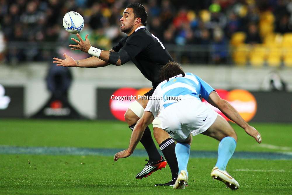 Liam Meesam fumbles the ball, during the Investec Rugby Championship match, New Zealand All Blacks v Argentina, Saturday 8 September 2012. PHOTO: Grant Down / photosport.co.nz