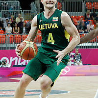 02 August 2012: Lithuania Rimantas Kaukenas dribbles during 82-74 Team France victory over Team Lithuania, during the men's basketball preliminary, at the Basketball Arena, in London, Great Britain.