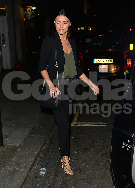 Lydia Bright and Lucy Mecklenburgh arriving at Sexy Fish restaurant in Mayfair, London, uK. 14/04/2016<br />