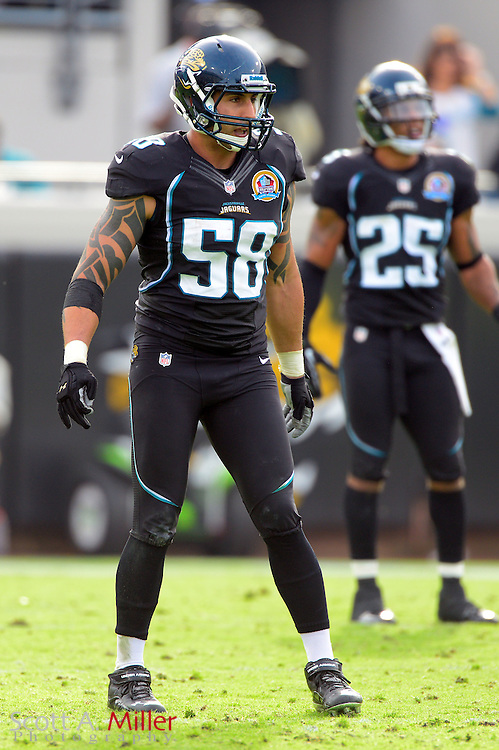 Jacksonville Jaguars linebacker Jason Babin (58) during an NFL game against the New York Jets at EverBank Field on Dec 9, 2012 in Jacksonville, Florida. The Jets won 17-10...©2012 Scott A. Miller..