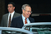 Kenneth Starr, the independent prosecutor investigating President Clinton's affair with former White House intern Monica Lewinsky gets into his car July 31, 1998 at his home in McClean, VA. Starr has agreed to grant immunity to Lewinsky in return for her cooperation in the investigation.