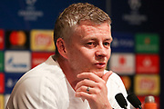 Manchester United interim Manager Ole Gunnar Solskjaer during the Manchester United Press Conference ahead of the Champions League match between Paris Saint-Germain and Manchester United at Parc des Princes, Paris, France on 5 March 2019.
