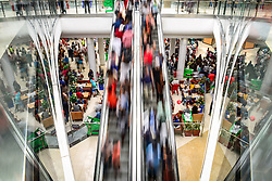 BEIJING, May 1, 2016 (Xinhua) -- People visit the Mall of Africa in Midrand, near Johannesburg, South Africa, on April 28, 2016. The Mall of Africa, the largest shopping mall in South Africa, officially opened here Thursday, with 130,000 square meters of retail space available. The Mall is home to over 300 shops of local and international brands, many of which are flagship stores. Streams of visitors came to the Mall for the promotions given by the shops on the opening day. (Xinhua/Zhai Jianlan) (Credit Image: © Zhai Jianlan/Xinhua via ZUMA Wire)