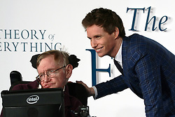 © Licensed to London News Pictures. 09/12/2014, UK. Professor Stephen Hawking, Eddie Redmayne, The Theory of Everything - UK film premiere, Leicester Square, London UK, 09 December 2014. Photo credit : Richard Goldschmidt/Piqtured/LNP