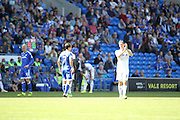 Chris Wood of Leeds United applauds the away fans whilst being substituted during the EFL Sky Bet Championship match between Cardiff City and Leeds United at the Cardiff City Stadium, Cardiff, Wales on 17 September 2016. Photo by Andrew Lewis.