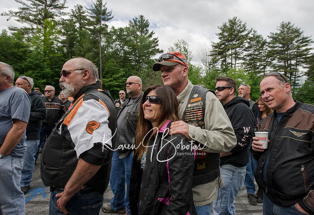 """Riders get briefed for the """"Ride to the Sky"""" from Laconia Harley in Meredith on Thursday morning with the Winnipesaukee Chapter of Harley Davidson owners group.  (Karen Bobotas/for the Laconia Daily Sun)"""