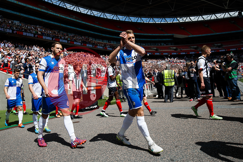 Lee Brown of Bristol Rovers makes his way out before kick off - Photo mandatory by-line: Rogan Thomson/JMP - 07966 386802 - 17/05/2015 - SPORT - FOOTBALL - London, England - Wembley Stadium - Bristol Rovers v Frimsby Town - Vanarama Conference Premier Play-off Final.