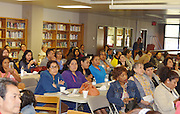 "Parents and community members gather for ""Coffee with the Principal"" at Sam Houston MTSC and get an update on construction of the new school."