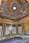 A painted ceiling on the grand stairs of the derelict and fading Hacienda de Jaral de Berrio in Jaral de Berrios, Guanajuato, Mexico. The abandoned Jaral de Berrio hacienda was once the largest in Mexico and housed over 6,000 people on the property and is credited with creating Mescal.