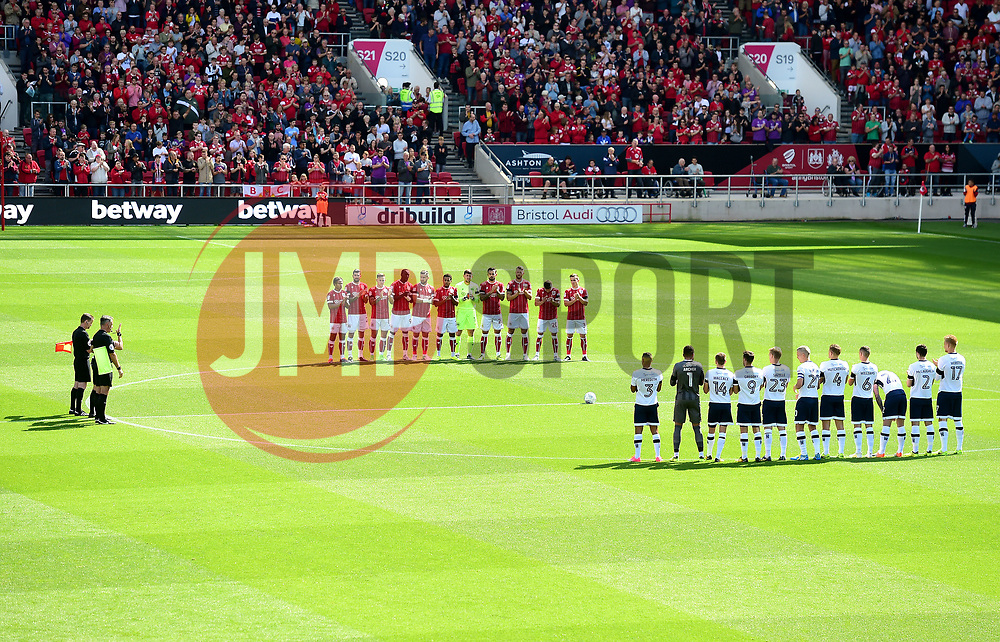 Bristol City and Millwall players and fans observe a minutes applause  - Mandatory by-line: Joe Meredith/JMP - 19/08/2017 - FOOTBALL - Ashton Gate Stadium - Bristol, England - Bristol City v Millwall - Sky Bet Championship