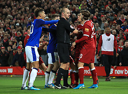 File photo dated 05-01-2018 of tempers flaring Everton's Mason Holgate (left) and Liverpool's Roberto Firmino during the FA Cup, third round match at Anfield, Liverpool.