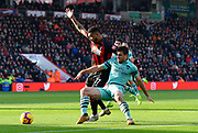 Joshua King (17) of AFC Bournemouth battles for possession with Sokratis Papastathopoulos (5) of Arsenal during the Premier League match between Bournemouth and Arsenal at the Vitality Stadium, Bournemouth, England on 25 November 2018.