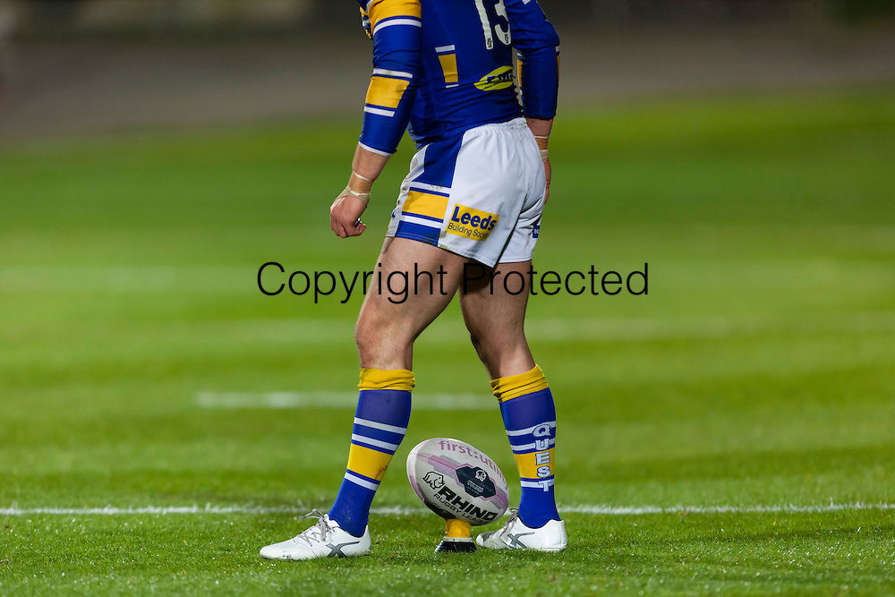 17.04.2014.  Bradford, England.  Kevin Sinfield prepares to take a penalty during the Super League game between Bradford Bulls and Leeds Rhinos from Odsal Stadium.