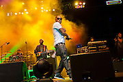 A guest artist performing with Shaggy at the Biolife Sounds of Reggae at Brooklyn's Barclays Center.
