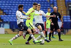 Callum Chettle of Peterborough United battles with Jem Karacan and Josh Vela of Bolton Wanderers - Mandatory by-line: Joe Dent/JMP - 30/04/2017 - FOOTBALL - Macron Stadium - Bolton, England - Bolton Wanderers v Peterborough United - Sky Bet League One