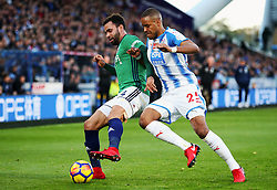 Hal Robson-Kanu of West Bromwich Albion and Mathias Zanka Jorgensen of Huddersfield Town - Mandatory by-line: Matt McNulty/JMP - 04/11/2017 - FOOTBALL - The John Smith's Stadium - Huddersfield, England - Huddersfield Town v West Bromwich Albion - Sky Bet Championship