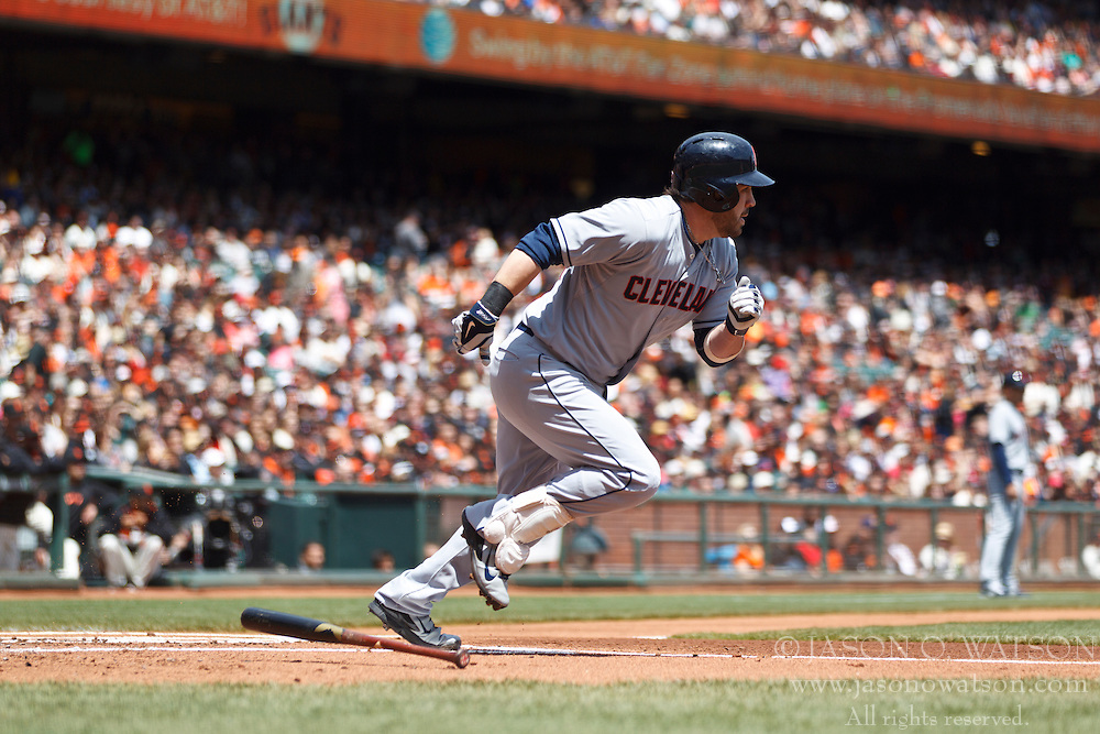 SAN FRANCISCO, CA - APRIL 26:  Jason Kipnis #22 of the Cleveland Indians hits an RBI single against the San Francisco Giants during the first inning at AT&T Park on April 26, 2014 in San Francisco, California. The San Francisco Giants defeated the Cleveland Indians 5-3.  (Photo by Jason O. Watson/Getty Images) *** Local Caption *** Jason Kipnis