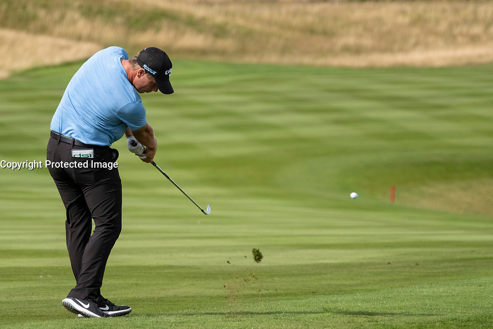Gleneagles, Scotland, UK; 7 August, 2018.  Practice day at Gleneagles for the European Championships 2018. Callum Shinkwin approach shot