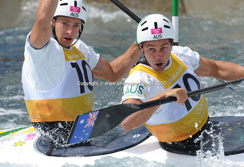 Australia's C2 team of Kynan Maley ansd Robin Jeffery during the Men's C2 Canoe Slalom at the Lee Valley Whitewater Centre, London, United Kingdom. Thursday 2 August 2012. Photo: Andrew Cornaga/Photosport.co.nz