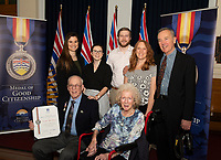 Citizens of British Columbia are presented with a medal for extraordinary Good Citizenship in a ceremony at the BC Legislature.