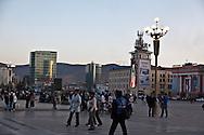 Mongolia. Ulaanbaatar. Sukhbaatar square, the city center of  Ulaanbaatar,  Mongolia