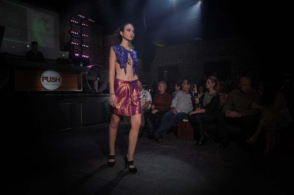 A look from So Not Sari, a VERTICAL evening at PUSH Ultra Lounge in St. Petersburg, FL. Fashion show featuring designs by Kimberly Hendrix. Brian James Gallery Photography.