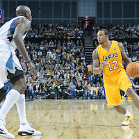 04 October 2010: Los Angeles Lakers guard Shannon Brown #12 is seen during the Minnesota Timberwolves 111-92 victory over the Los Angeles Lakers, during 2010 NBA Europe Live, at the O2 Arena in London, England.