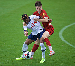 KIRKBY, ENGLAND - Saturday, August 10, 2019: Liverpool's Morgan Boyes (R) gets to grips with Tottenham Hotspur's Kazaiah Sterling during the Under-23 FA Premier League 2 Division 1 match between Liverpool FC and Tottenham Hotspur FC at the Academy. (Pic by David Rawcliffe/Propaganda)