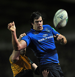 Mike McCarthy (Leinster) wins the ball at a lineout - Photo mandatory by-line: Patrick Khachfe/JMP - Tel: Mobile: 07966 386802 07/12/2013 - SPORT - RUGBY UNION -  Franklin's Gardens, Northampton - Northampton Saints v Leinster - Heineken Cup.
