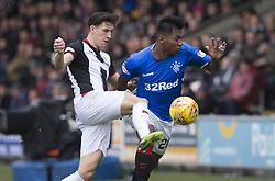 St Mirren's Ian McShane (left) and Rangers' Alfredo Morelos battle for the ball during the Ladbrokes Scottish Premier League match at St Mirren Park, St Mirren.