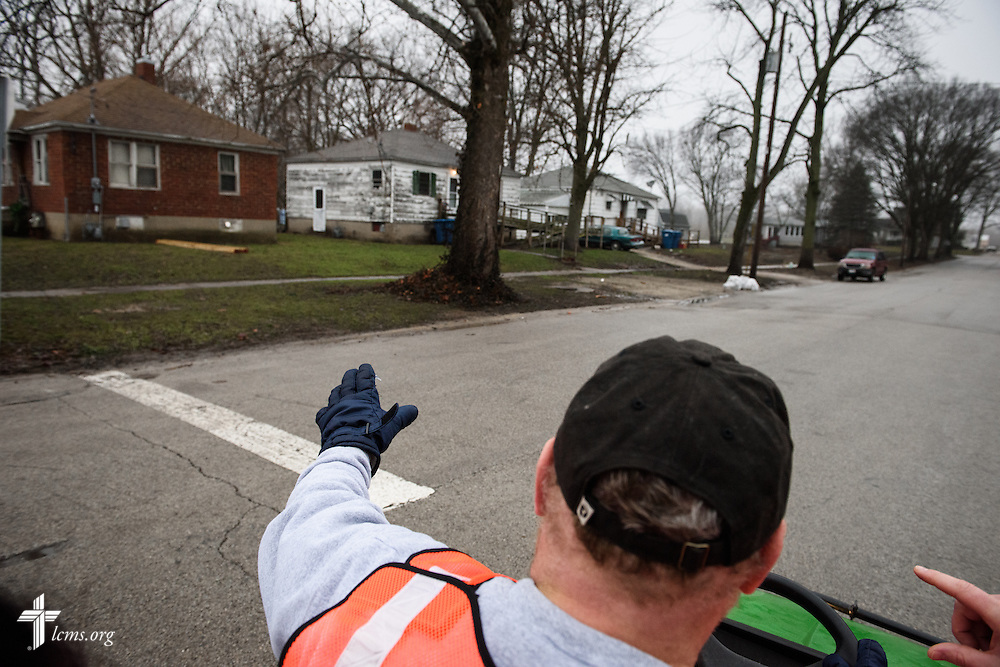 The Rev. Donald Love, pastor at Calvary Lutheran Church in Watseka, Ill., tours affected neighborhoods during a volunteer event for cleanup of flood-damaged homes on Saturday, Jan. 9, 2016, in Watseka. A flood at the end of December ravaged over a 60-block radius of the town. LCMS Communications/Erik M. Lunsford