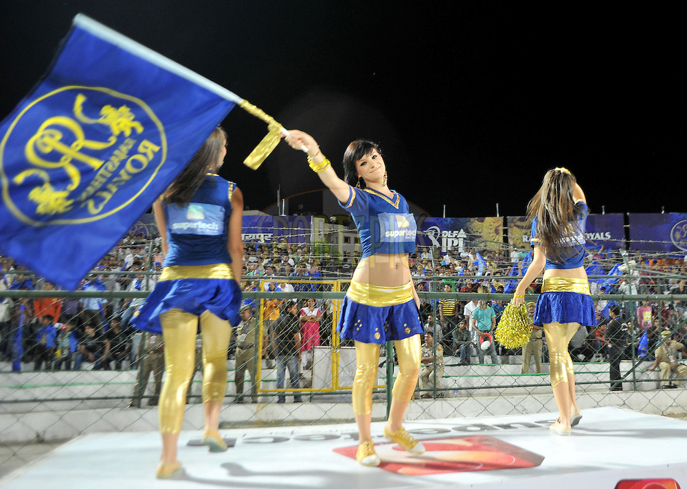 Cheer leaders of Rajasthan Royals during match 55 of the the Indian Premier League ( IPL ) Season 4 between the Rajasthan Royals and the Royal Challengers Bangalore held at the Sawai Mansingh Stadium, Jaipur, Rajatshan, India on the 11th May 2011..Photo by Sandeep ShettyBCCI/SPORTZPICS.