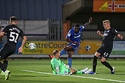 AFC Wimbledon attacker Michael Folivi (17) shots at goal during the EFL Trophy (Leasing.com) match between AFC Wimbledon and U23 Brighton and Hove Albion at the Cherry Red Records Stadium, Kingston, England on 3 September 2019.