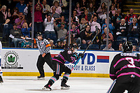 KELOWNA, BC - SEPTEMBER 21:  Kyle Topping #24 of the Kelowna Rockets opens the scoreboard with a first period goal against the Spokane Chiefs and celebrates with the fans at Prospera Place on September 21, 2019 in Kelowna, Canada. (Photo by Marissa Baecker/Shoot the Breeze)