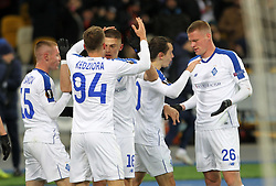 February 21, 2019 - Kiev, Ukraine - Dynamo Kyiv players celebrate scoring goal during the UEFA Europa League round of 32 second leg football match between Olympiacos FC and FC Dynamo Kyiv at the Olimpiyskiy Stadium in Kiev on February 21, 2019. (Credit Image: © Str/NurPhoto via ZUMA Press)