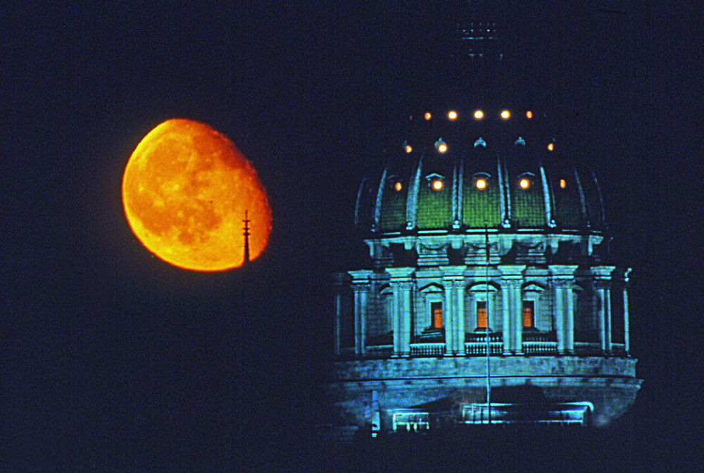 Moon over Pennsylvania capitol dome, Harrisburg