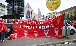 BASEL, SWITZERLAND - Wednesday, May 18, 2016: Liverpool supporters banner 'Support & Believe' before the UEFA Europa League Final at St. Jakob-Park. (Pic by David Rawcliffe/Propaganda)