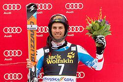 Third placed MATT Mario  of Austria celebrates at trophy ceremony after the 10th Men's Slalom - Pokal Vitranc 2013 of FIS Alpine Ski World Cup 2012/2013, on March 10, 2013 in Vitranc, Kranjska Gora, Slovenia. (Photo By Vid Ponikvar / Sportida.com)