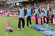 Worcestershire Rapids Moeen Ali leads his team out during the final of the Vitality T20 Finals Day 2018 match between Worcestershire rapids and Sussex Sharks at Edgbaston, Birmingham, United Kingdom on 15 September 2018.
