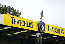 Thatchers End signage - Rogan Thomson/JMP - 11/08/2017 - FOOTBALL - Memorial Stadium - Bristol, England - Bristol Rovers v Cardiff City - EFL Cup First Round.