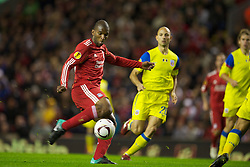 LIVERPOOL, ENGLAND - Thursday, September 16, 2010: Liverpool's Ryan Babel in action against FC Steaua Bucuresti during the opening UEFA Europa League Group K match at Anfield. (Photo by David Rawcliffe/Propaganda)