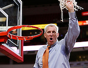 Florida A&M men's basketball head coach Mike Gillespie celebrates their 2007 MEAC Basketball Tournament championship at the RBC Center in Raleigh, North Carolina.  March 10, 2007  (Photo by Mark W. Sutton)
