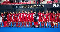 BHUBANESWAR (INDIA) - Line up  tijdens Belgie-Pakistan bij het WK Hockey heren. COPYRIGHT KOEN SUYK
