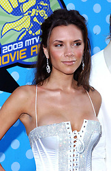 Victoria Beckham at the 2003 MTV Movie Awards in Los Angeles.  Half length, make-up, cleavage, boobs.