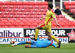 Swindon Town's Wes Foderingham in action during the Sky Bet League One match between Swindon Town and Milton Keynes Dons at The County Ground on 4 April 2015 in Swindon, England - Photo mandatory by-line: Paul Knight/JMP - Mobile: 07966 386802 - 04/04/2015 - SPORT - Football - Swindon - The County Ground - Swindon Town v Milton Keynes Dons - Sky Bet League One