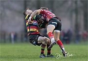 Ouch!!<br /> <br /> Photographer: Dan Minto<br /> <br /> Indigo Welsh Premiership Rugby - Round 12 - Llandovery RFC v Carmarthen Quins RFC - Saturday 28th December 2019 - Church Bank, Llandovery, South Wales, UK.<br /> <br /> World Copyright © Dan Minto Photography<br /> <br /> mail@danmintophotography.com <br /> www.danmintophotography.com