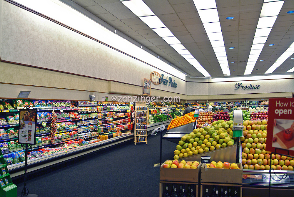 American, US, grocery, Wheaties, Cereal, Boxes, produce, food, store, display, shelves, grocery store, Super Market, Produce, Stacked, Shelves, array of specialty foods,