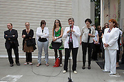 Austrian Pavillion opening ceremony. From l.: Artists Franziska & Lois Weinberger, Dorit Margreiter, Elke Krystufek; Dr. Claudia Schmid (Minister for Education, Arts and Culture) holding speech; Commissioners Silvia Eiblmayr and Valie Export.