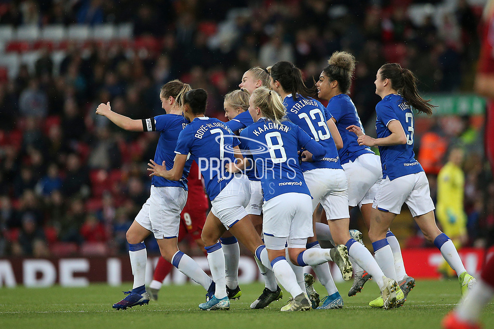 Everton Women celebrates the goal by Everton women midfielder Lucy Graham (17) 0-1 during the FA Women's Super League match between Liverpool Women and Everton Women at Anfield, Liverpool, England on 17 November 2019.